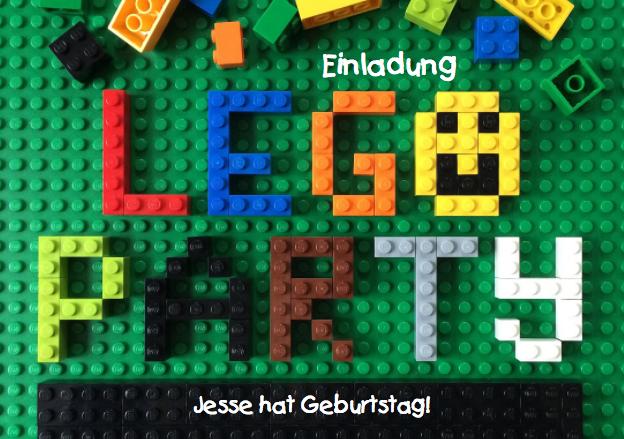 Einladungkarte zur LEGO Party bunt und originell