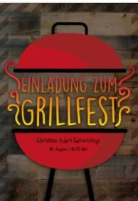 Barbecue-Grill mit dem Wort Grillfest in rot-gelber-Schrift