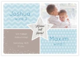 Einladungskarte mit einem Foto zum Hochladen für einen gemeinsame Einladung von 2 Kindern. Und den Geburtstag zusammen feiern.