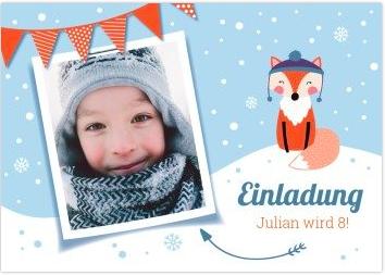 Fotokarte mit Schneemotiv für den Winter Kindergeburtstag