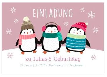 Schöne Karte für Winter Kindergeburtstag