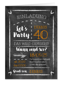 Vorlagen zum 40. Geburtstag: Einladung in Kreidetafel-Look