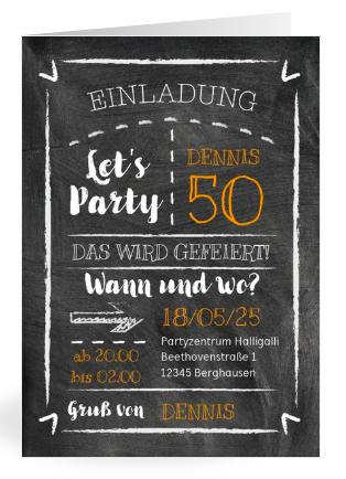 Geburtstag Einladung mit Kreide