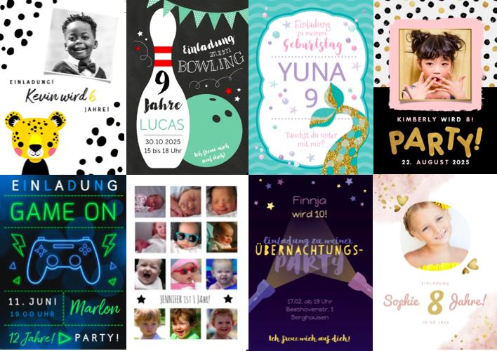 Vorlagen zur Einladung: Einladungen Kindergeburtstag
