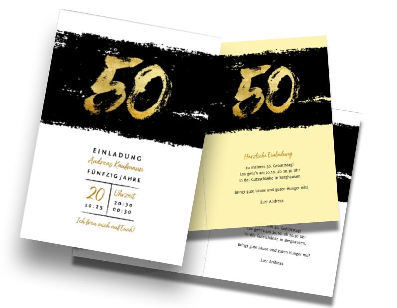 Ideal für Einladungstexte zum 50. Geburtstag