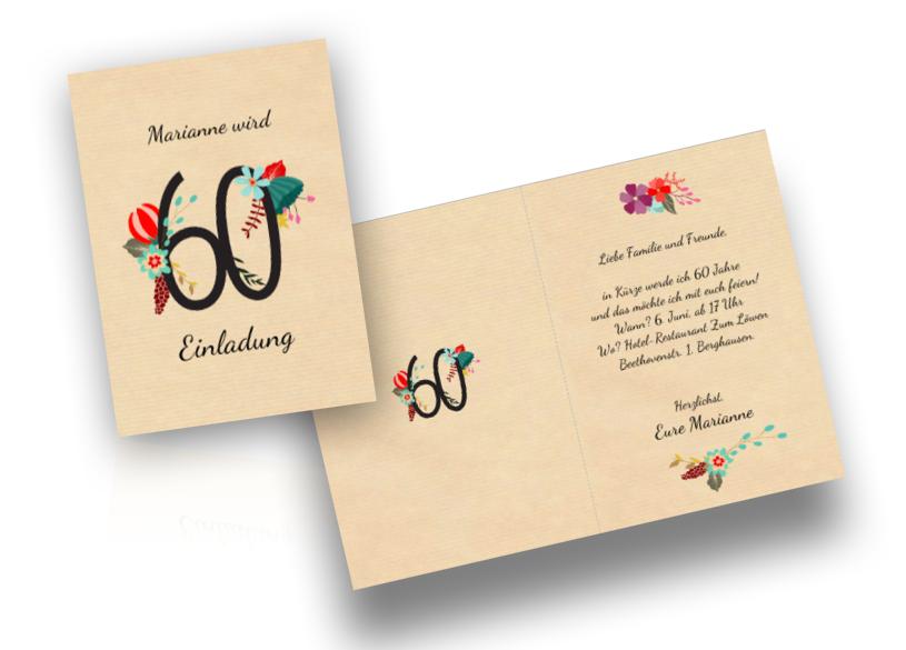 Für Einladungstexte zum 60. Geburtstag