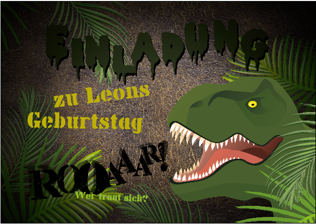 Einladung zur Dschungel Dino Party