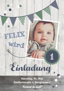 Einladung Geburtstag 1 Jahr: Karte mit Foto in Blau- und Grüntönen