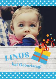 Einladung Geburtstag 1 Jahr: Karte mit Foto und Sternchenmuster