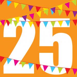 Einladung Geburtstag 25 Jahre: Karte In Orange Mit Großer 25