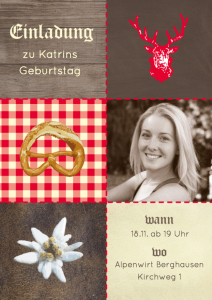 Einladung Geburtstag 25 Jahre: Karte in Braun und Rot in Alpenlook mit Foto
