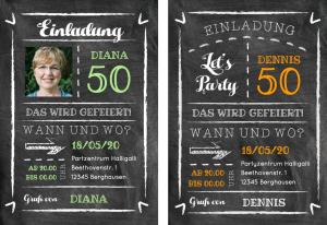 Einladung Geburtstag 50 Jahre: Karte In Trendy Kreidelook