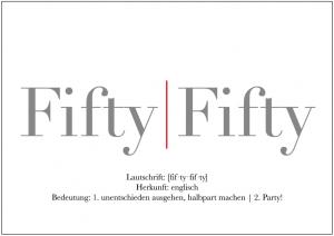 Einladung Geburtstag 50 Jahre: Einladungskarte mit Wortwitz fifty-fifty