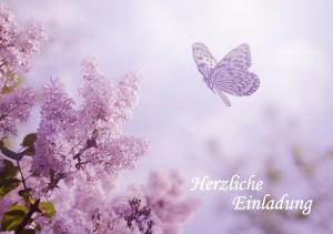 Einladung Geburtstag 70 Jahre: Einladung mit Flieder und Schmetterling
