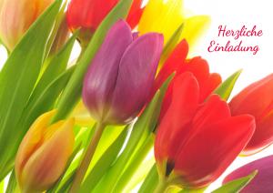 Einladung Geburtstag 70 Jahre: Karte mit bunten Tulpen