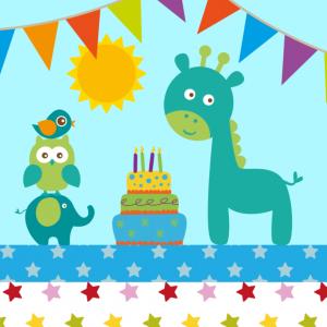 Einladung Kindergeburtstag: Einladung mit Tieren, Torte und Wimpeln