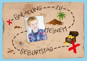 Einladung zur Schatzsuche zum Kindergeburtstag mit Schatzkarte und Foto