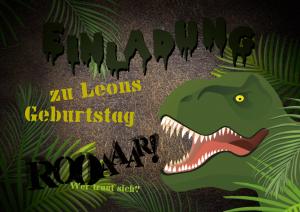 Einladungskarte zur Schatzsuche zum Kindergeburtstag mit T-Rex im Dschungel