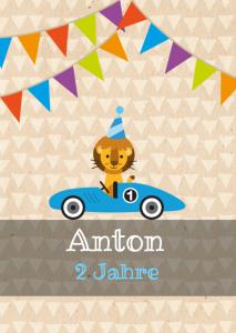 Vorlagen zum 2. Geburtstag: Einladungskarte mit Auto, Löwen und buten Fähnchen
