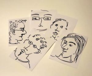 Witzige Porträts von den Gästen , die Idee zur Geburtstagsfeier
