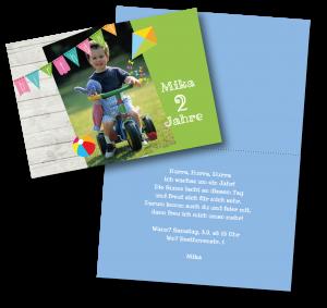 Einladungstexte zum 2. Geburtstag: Einladung in Grün und Blau