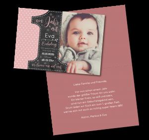 Einladungstexte zum 1. Geburtstag: Einladung in Rosa