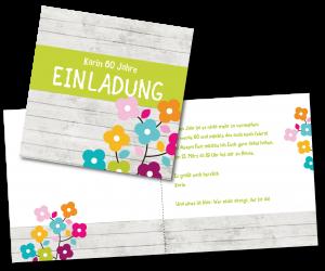 Einladungstexte zum 60. Geburtstag: Einladung mit Blumen