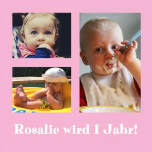 Vorlagen zum 1. Geburtstag: Einladungskarte in Rosa mit 3 Fotos