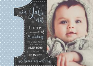 Vorlagen zum 1. Geburtstag: Einladungskarte mit Foto und großer Eins