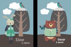 Vorlagen Zum 2. Geburtstag: Einladung Mit Hase Oder Bär