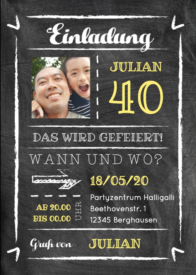 Einladungskarten 40 Geburtstag Jager Free