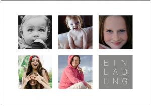 Vorlagen zum 50. Geburtstag: Fotokarte in Weiß mit 5 Fotos