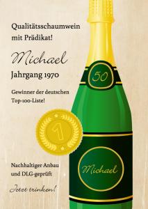Vorlagen zum 50. Geburtstag: Einladung mit Champagner