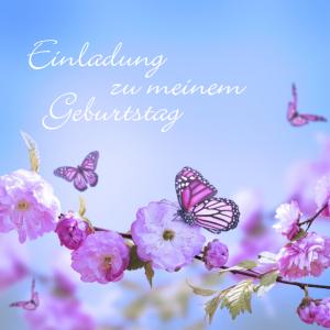 Vorlagen zum 75. Geburtstag: Einladung mit Blüten und Schmetterlingen