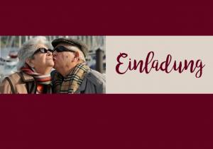 Vorlagen zum 75. Geburtstag: Weinrote Einladung mit Foto