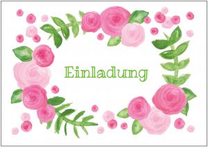 Vorlagen zum 75. Geburtstag: Einladung mit Krans aus rosa Rosen