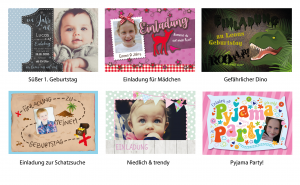 Vorlagen zur Einladung im Querformat zum Kindergeburtstag